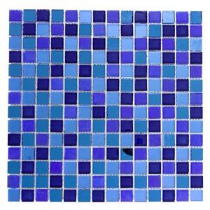 Pastilha de Vidro Azul e Espelho INF- 173 30x30cm Colortil
