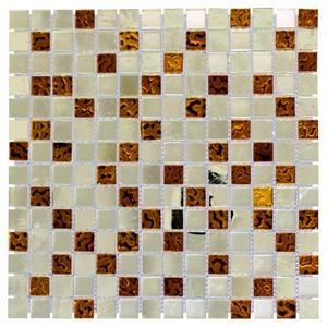 Pastilha de Vidro Dourada, Espelho e Marrom INF-153 30x30cm Colortil