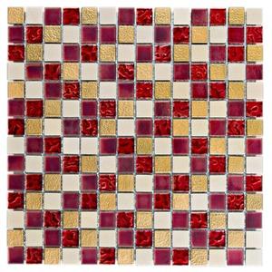 Pastilha de Vidro Vermelha e Dourada INF-136 30x30cm Colortil