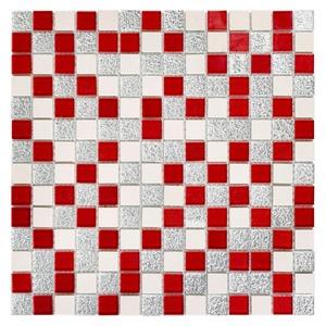 Pastilha de Vidro Vermelha e Prata INF-158 30x30cm Colortil
