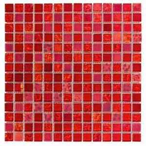 Pastilha de Vidro Vermelha INF-135 30x30cm Colortil