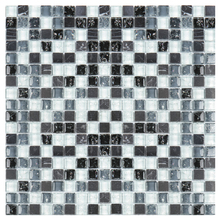 Pastilha GS305 30x30cm Branca e Preta Glass Mosaic