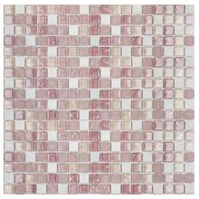 Pastilha GS306 30x30cm Bege, Rosa e Branca Glass Mosaic