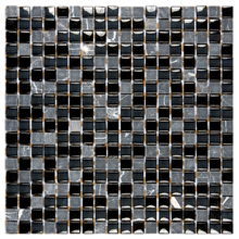 Pastilha GS602 30x30cm Preta e Cinza Glass Mosaic
