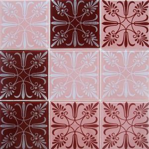 Pastilha Ladrilho Giesta Rosa e Vermelho 30,6X30,6 cm Vetromani