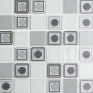 Pastilha Ladrilho Palle Branco e Cinza 31,5X31,5 cm Vetromani