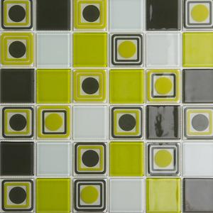 Pastilha Ladrilho Palle Branco, Verde e Marrom 31,5X31,5 cm Vetromani