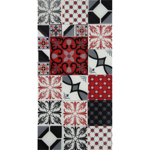 Pastilha Ladrilho Patchwork Branco, Vermelho e Preto 30x30 cm Vetromani