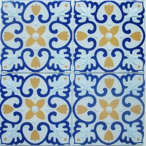 Pastilha Ladrilho Piastrella Branco, Amarelo e Azul 30,3X30,3 cm Vetromani