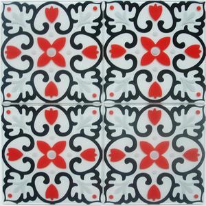 Pastilha Ladrilho Piastrella Branco, Vermelho e Preto 30,3X30,3 cm Vetromani