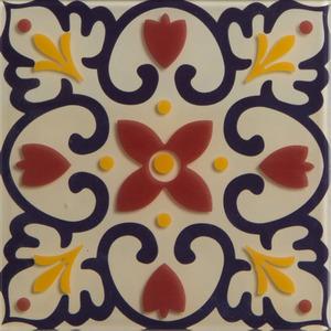 Pastilha Ladrilho Piastrella Preto, Vermelho e Amarelo 30,3X30,3 cm Vetromani