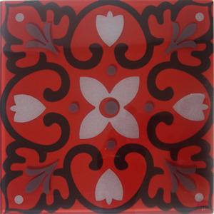 Pastilha Ladrilho Piastrella Vermelho, Preto e Cinza 30,3X30,3 cm Vetromani