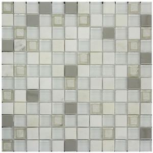 Pastilha Mármore e Vidro Branco Arequipa 30,5X30,5cm Colormix