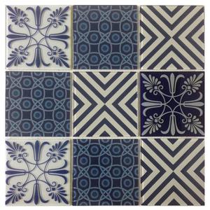 Pastilha Patchwork Azul e Branco 30,6x30,6cm Vetromani