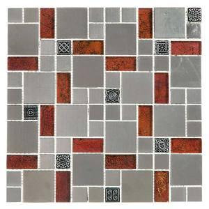 Pastilha Pedra/Metal Brilhante/Fosca Textura Especial Metalica/Vermelha 5X5/2,5X2/5X2,5 Fusion FUS29 30X30 Colortil