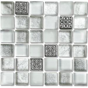 Pastilha Pedra/Vidro Brilhante/Fosca Textura Especial Branco/Preto 1,5X1,5 Fusion 30x30 Colortil