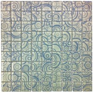 Pastilha Vidro Branco e Azul Circular 30x30cm Vidro Real