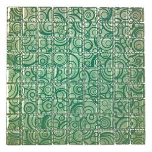 Pastilha Vidro Branco e Verde Circular 30x30cm Vidro Real