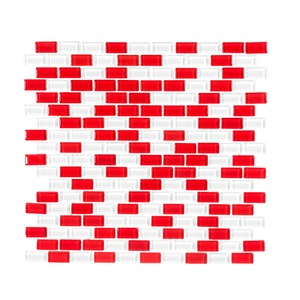 Pastilha Vidro Branco e Vermelho Tijolinho 33,5x30,6cm Vidro Real