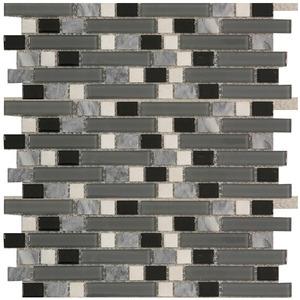 Pastilha Vidro e Pedra Branco, Cinza e Preto GS303 30,5X30,5cm Colormix