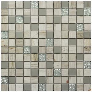 Pastilha Vidro, Inox e Pedra Bege Rivas 30,5X30,5cm Colormix