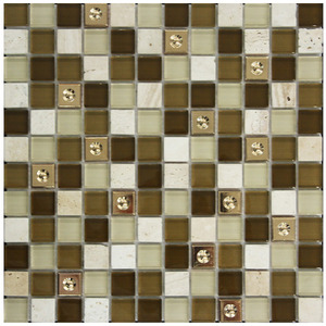 Pastilha Vidro, Pedra e Metal Marrom Calli 30,5X30,5cm Colormix