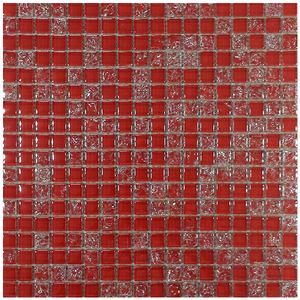 Pastilha Vidro Vermelho Pathernon Tomagi 30,5X30,5cm Colormix