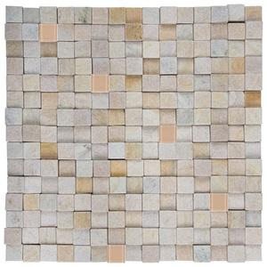 Pedra Caxambú Amarela com Vidro Bege 30x30cm Henry Mosaicos