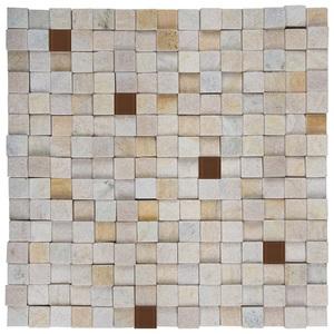 Pedra Caxambú Amarela com Vidro Marrom 30x30cm Henry Mosaicos