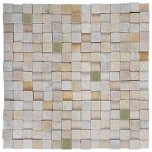Pedra Caxambú Amarela com Vidro Verde Musgo 30x30cm Henry Mosaicos
