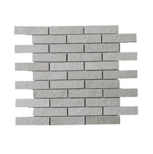 Pedra Natural Mosaico Telado Linha Aliance Branco Paraíba (1) 2,5x10 Tela 29x30cm Revestir