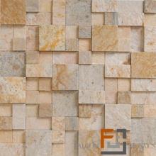 Pedra QTZ Mosaico Plantanum Amarelo 3 (30x30cm) Falcon Mosaics