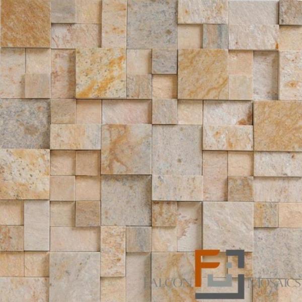 Pedra qtz mosaico plantanum amarelo 3 30x30cm falcon for Mosaico leroy merlin