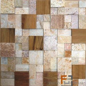 Pedra qtz mosaico plantanum amarelo 3 com madeira 30x30cm for Leroy merlin mosaico decorativo