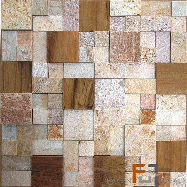 Pedra qtz mosaico plantanum amarelo 3 com madeira 30x30cm for Mosaico leroy merlin