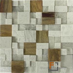 Pedra QTZ Mosaico Plantanum Claro 3 com Madeira (30x30cm) Falcon Mosaics