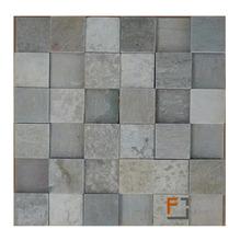 Pedra Quartzito Mosaico Plantanum 1 Verde/Cinza 30x30cm Tupy Pedras