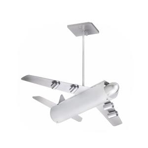Pendente Avião Alumínio/Vidro Cinza Thema Star