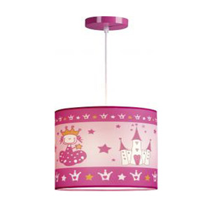 Pendente Infantil Taschibra Princesa Redondo Aço/PVC/Tecido Colorido 1 Lamp Bivolt