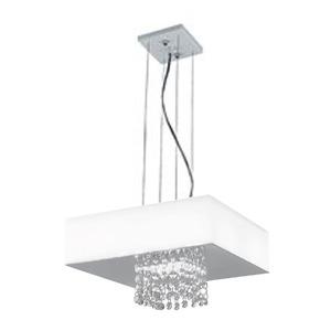 Pendente LED LLUM Vision LED Quadrado Alumínio/Cristal Branco 110V