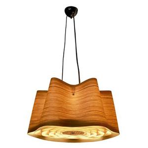 Pendente LLUM Bronzearte Wood Redondo Madeira Marrom Bivolt