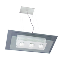 Pendente Pantoja&Carmona 141 Retangular Metal e Vidro Transparente Bivolt