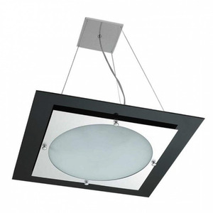 Pendente Pantoja&Carmona 254 Quadrado Alumínio/Vidro Preto 3 Lamp Bivolt