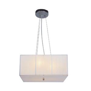 Pendente Taschibra Delfos Quadrado PVC/Tecido Branco 3 Lamp Bivolt