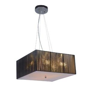 Pendente Taschibra Delfos Quadrado PVC/Tecido Preto 3 Lamp Bivolt