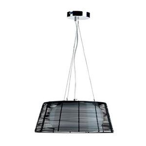 Pendente LLUM Oriente Redondo Aço/Alumínio/Vidro Preto 3 Lamp Bivolt