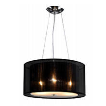 Pendente LLUM Twice Redondo Aço/Tecido Preto 3 Lamp Bivolt