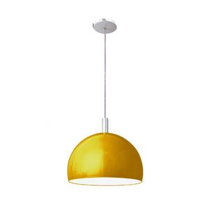 Pendente Pantoja&Carmona 4000 Redondo Alumínio/Vidro Amarelo 1 Lamp Bivolt