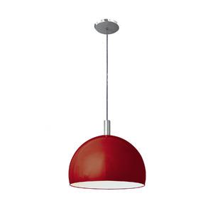 Pendente Pantoja&Carmona 4000 Redondo Alumínio/Vidro Vermelho 1 Lamp Bivolt