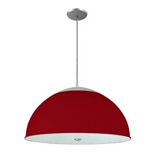 Pendente Pantoja&Carmona 3069 Redondo Alumínio/Vidro Vermelho 2 Lamp Bivolt